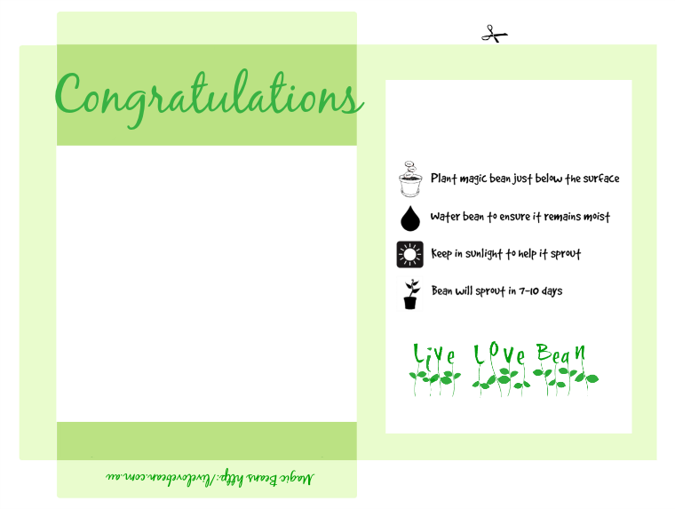Magic Bean - Congratulations Printable